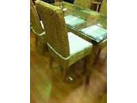 New in box Faringdon Glass Top Stainless Steel Modern Kitchen Dining Table - Rectangle
