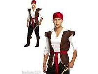 MENS PIRATE FANCY DRESS OUTFIT SIZE S/M INCLUDES PIRATE HAT AND SWORD