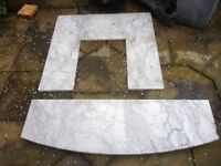 Marble Back and hearth for fire