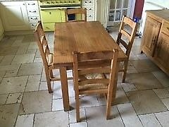 Solid oak dining table and chairs. (from Barker and stonehouse)