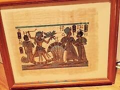 Two framed original egyptian papyrus paintings