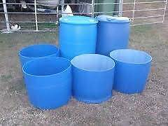 Blue drums cut in half for horse feed or hay. South Guildford Swan Area Preview