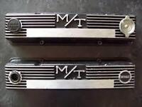 1 set of MT SBC Flat Black cast aluminum valve covers.