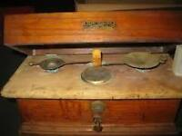 Henry Troemner Antique Pharmacy Scale w/ Wood & Marble Top