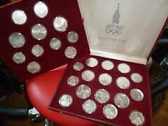 Moscow 1980 Olympics Silver Coin Set - 28 Coins - Proof Cond.