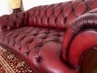Set of 2 Chesterfeild Sofas (3 seaters) top condontion hardly used in dark leather red