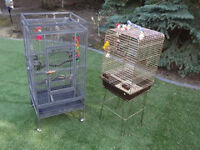 1 LARGE BIRD CAGE FOR SALE AND POWDER-COATED PLAY STAND!