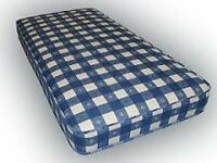 Brand New Comfy Single Mattress in blue check fabric FREE delivery 2 Available