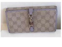 Authentic Gucci Large Lilac Leather & GG Beige Canvas Bamboo Clasp Continental Wallet