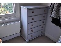 5 drawer hand-made Grantham grey painted chest of drawers