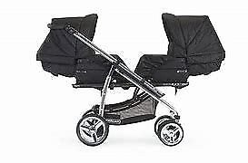 Bebecar twin travel system including rain covers