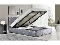 ELO crushed velvet ottoman storage bed Double King Size in( grey colour)