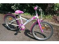Girls Pink and White Btwin misty bike 25 pounds ono