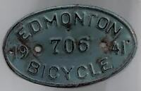 Wanted: Edmonton Bicycle Bike License Licence Plate
