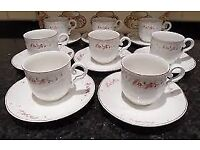 A SET OF EIGHT VILLEROY & BOCH VAL ROUGE ESPRESSO NESPRESSO COFFEE CUP & SAUCER