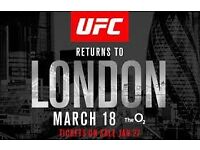 UFC London 18th march 2 tickets BLOCK 106 row D