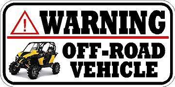 VINYL WARNING WINDOW DECAL BUMPER STICKER SIDE BY SIDE Off Road Vehicle 4x4