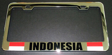 Indonesia Flag Chrome Heavy Duty License Plate Frame Tag Holder
