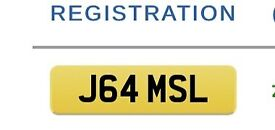 Personal Private Number Plate J64 MSL