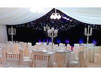 Chanderlier Centrepiece Hire Candelabra £25 Flower Backdrop Rent £299 Chiavari Chair Rental £2.20