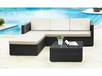 STYLISH BLACK RATTAN 3 SEATER SOFA, FOOTSTOOL AND COFFEE TABLE- STILL BOXED