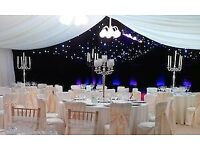 Christmas Party Decoration Chair Decor 79p Cylinder Vase Hire £9 Black Table Cloth Hire Chiavri