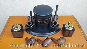 Pipes, 1970s Table Lighters, and Tobacco Humidor