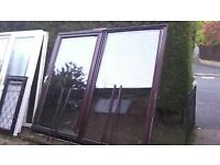 massive brown upvc sliders with gold handle and key minters glass included and bead