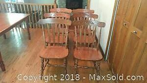 6 Solid Oak Mennonite dining chairs.