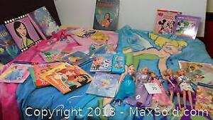 Disney princess & Barbie collection of books, blankets & dolls