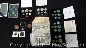 lot of international bills and coins