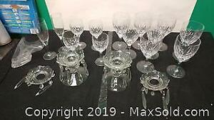 Crystal set glasses and candle holder