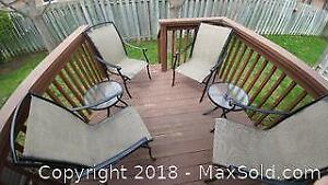 4 Patio Chairs and 2 Glass Top Side Tables