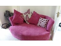 DFS Gloss: 3 Seater Formal Back Sofa,Cuddler Sofa and Storage Footstool for sale.