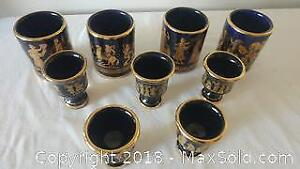 Hand Made In Greece In 24 Carat Gold Cups and shot glasses