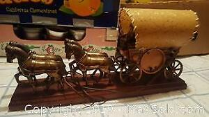 United Metal Goods covered wagon 4 horse clock