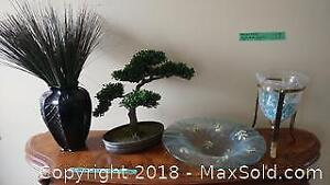 Vase, Faux Bonsai Tree and Other Decor