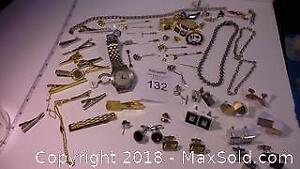 Men's collection of tie clips, cufflins, watch & more (50+ pieces)