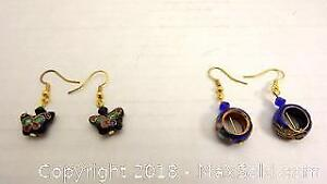 Lot of 2 pairs of new cloisonne earrings