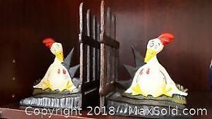 Bookends Chicken Cast Iron