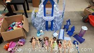 Frozen Castle with Barbies and Box of Toys A