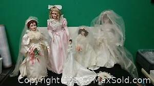 5 Vintage Porcelain Dolls In Wedding Dresses ...J