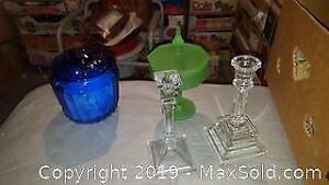 vintage candle sticks and jars