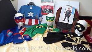 Superhero costumes 4-6X & Captain America T-shirt (small) & Knight costume 4-6