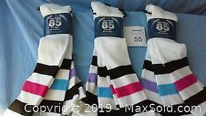 9 pairs of new white adult knee high socks (3 packs of 3)