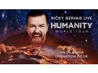 2 Ricky Gervais Newcastle City Hall tickets for humanities tour