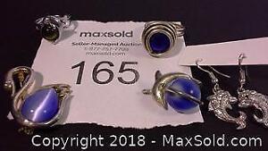 Dolphin, swan & blue stone fashion jewelry
