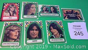 Qty of 7, 1977 original Charlies Angel collector stickers
