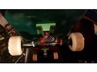 CHOCOLATE DECK 7.75 , THUNDER TRUCKS , PLAN B SHECKLER WHEELS , ONLY USED ONCE