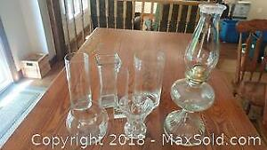 Vases and an Antique Eagle Oil lamp